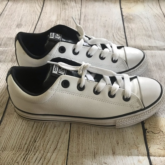 Black Leather Youth Womens Low